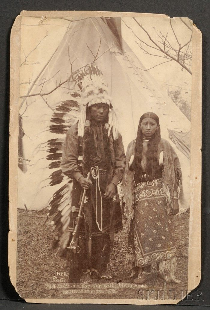 Photo of Cabinet Card of a Kiowa Couple | Sale Number 2506, Lot Number 566 | Skinner Auctioneers