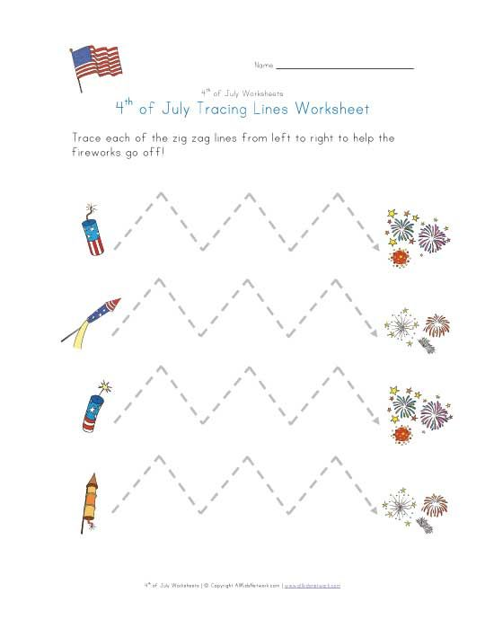 4th of july tracing lines worksheet 4th of july activities for kids pinterest worksheets. Black Bedroom Furniture Sets. Home Design Ideas