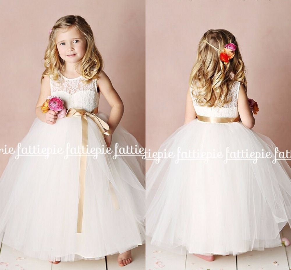 Click to buy ucuc white ball gown lace long flower girl dresses for