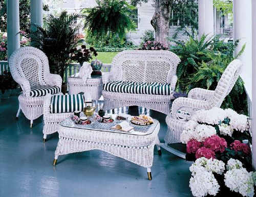 Country White Sunroom And Living Room Set By Spice Island Wicker