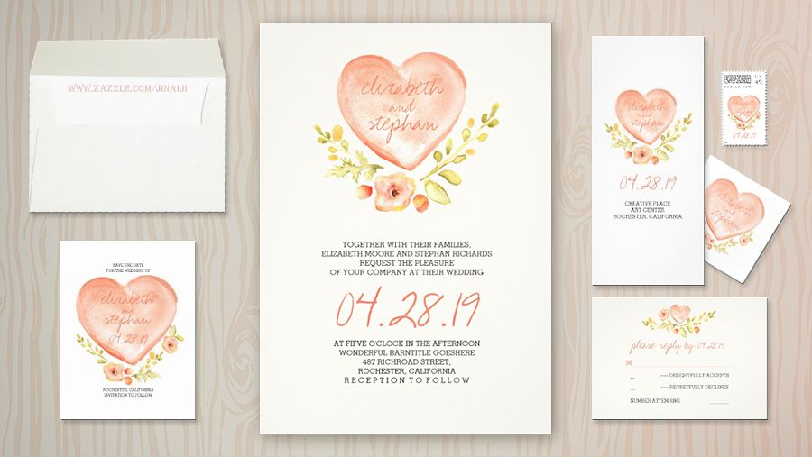 Feminine rustic and modern watercolor wedding invitation set with