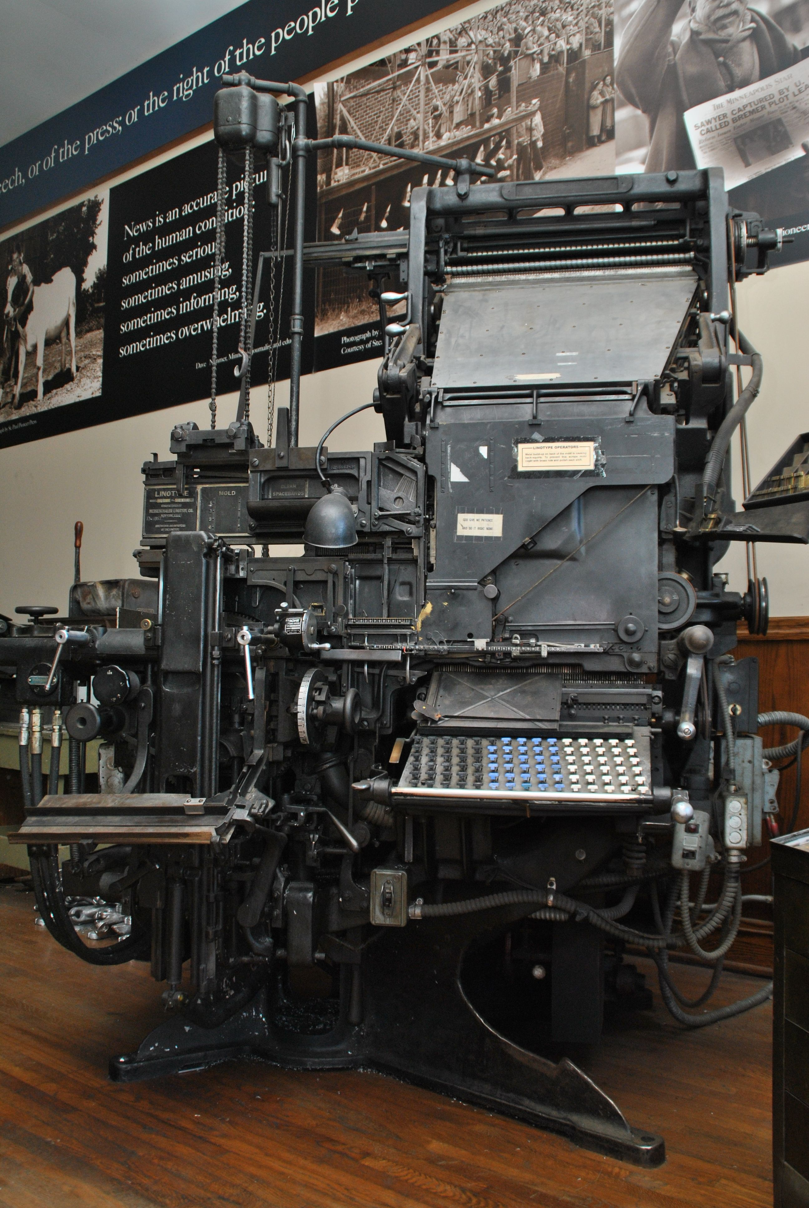The fully operational linotype, used to set copy for The Maynard News.