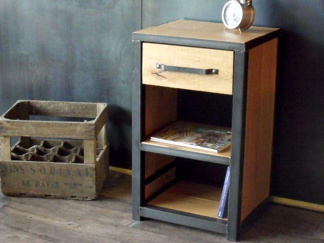 Table De Chevet Industriel #14: Table Chevet Bois Métal Style Industriel