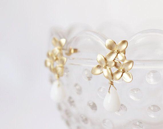 Golden Flora & Milk Glass Drops  earrings