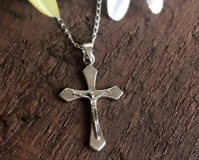 Argent Sterling 925 Jésus Crucifix Charm Avec Collier