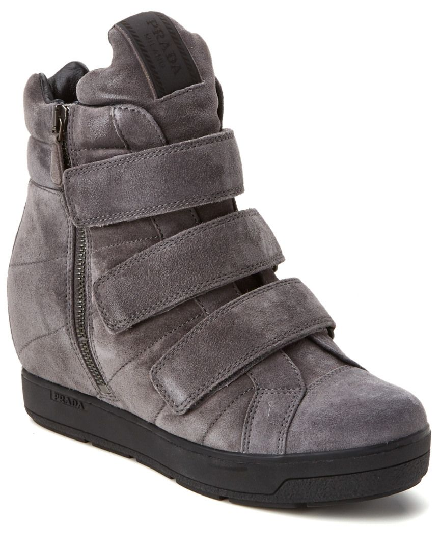 4d5c8927e690 Prada Suede High-Top Wedge Sneaker Wedge  SneakerWomen  Shoes ...