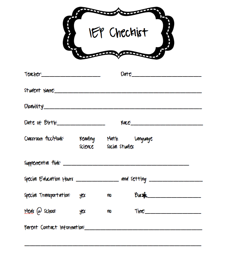 IEP checklist | Classroom Ideas | Pinterest | Special education ...