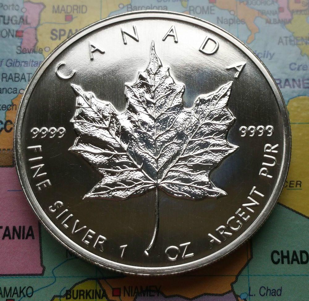 Y29 Canada 1999 Fine 9999 Silver 1oz Maple Leaf 5 Dollars Coin Km 187 Canadian Coins Coins Silver Bars