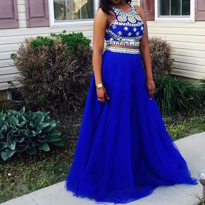 Two Piece Prom dress 2017 Halter A Line Beaded Rhinestones 8th Grade ...