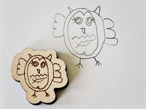 Kids Custom Artwork Wood Magnet by sayhelloshop on Etsy, $8.00  Christmas 2012. SO CUTE! <3