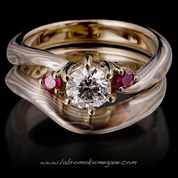 Aeris mokume gane engagement ring pair is crafted using Palladium