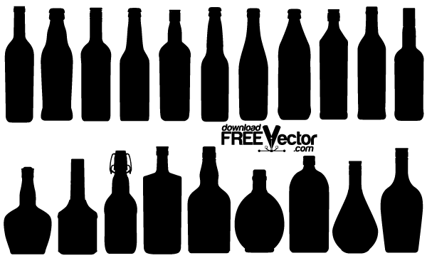 Free Vector Bottle Silhouettes Vector Free Silhouette Free Bottle