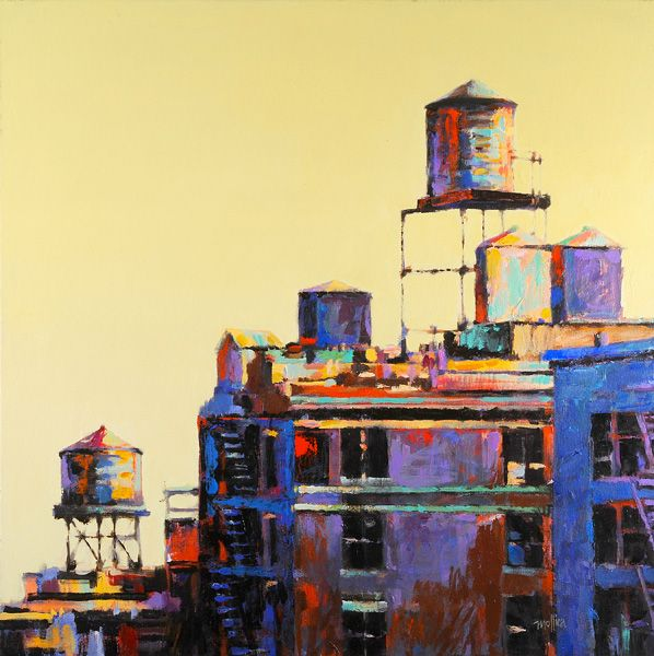 NYC Rooftops (acrylic on canvas, 30×30) by Patti Mollica. Learn how to Kick Up the Color here! ~ch #color #howtopaint