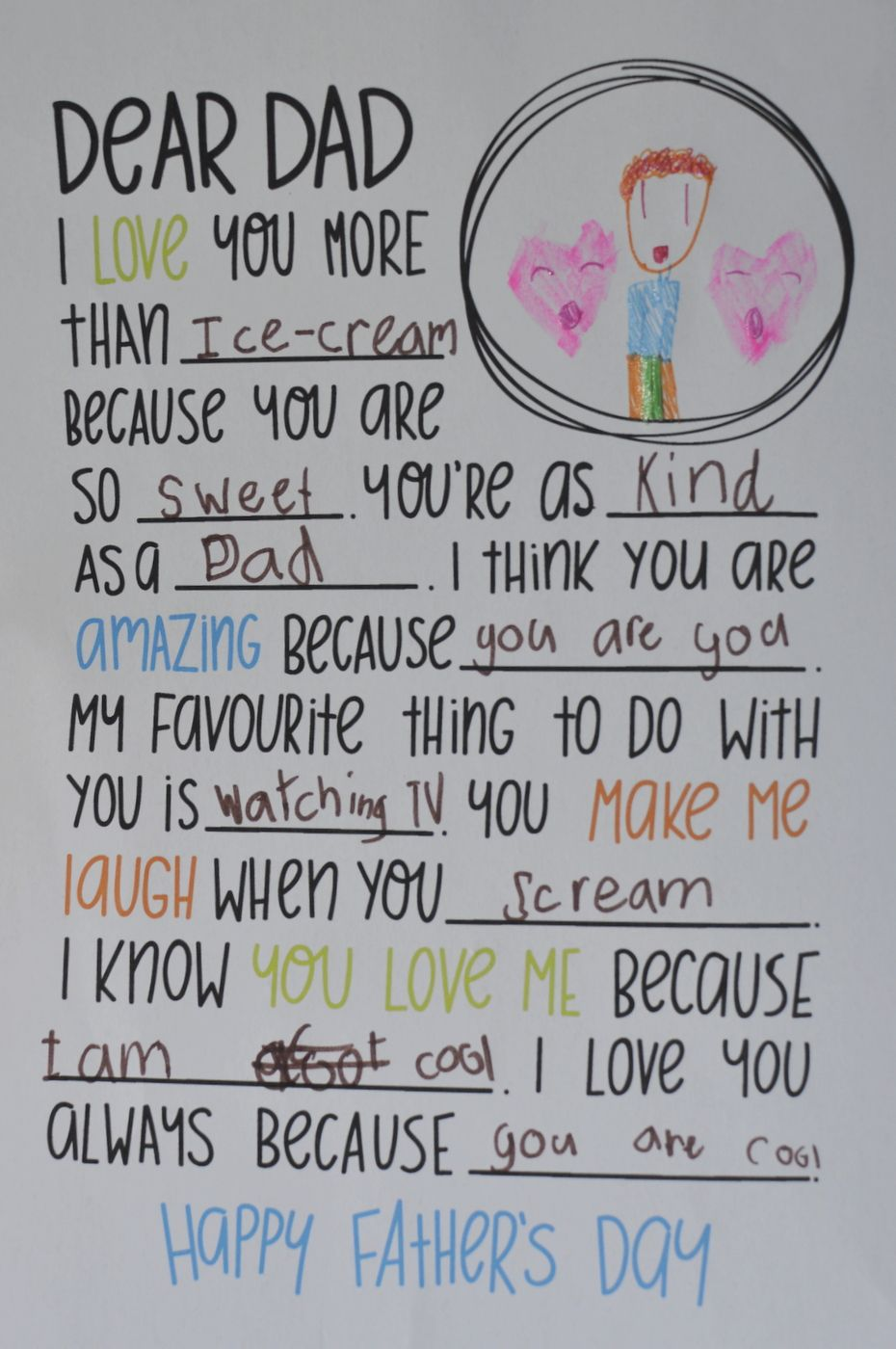65499b7ef6a Dear Dad Letter - Fill in the Blanks - Great for Father s Day ...