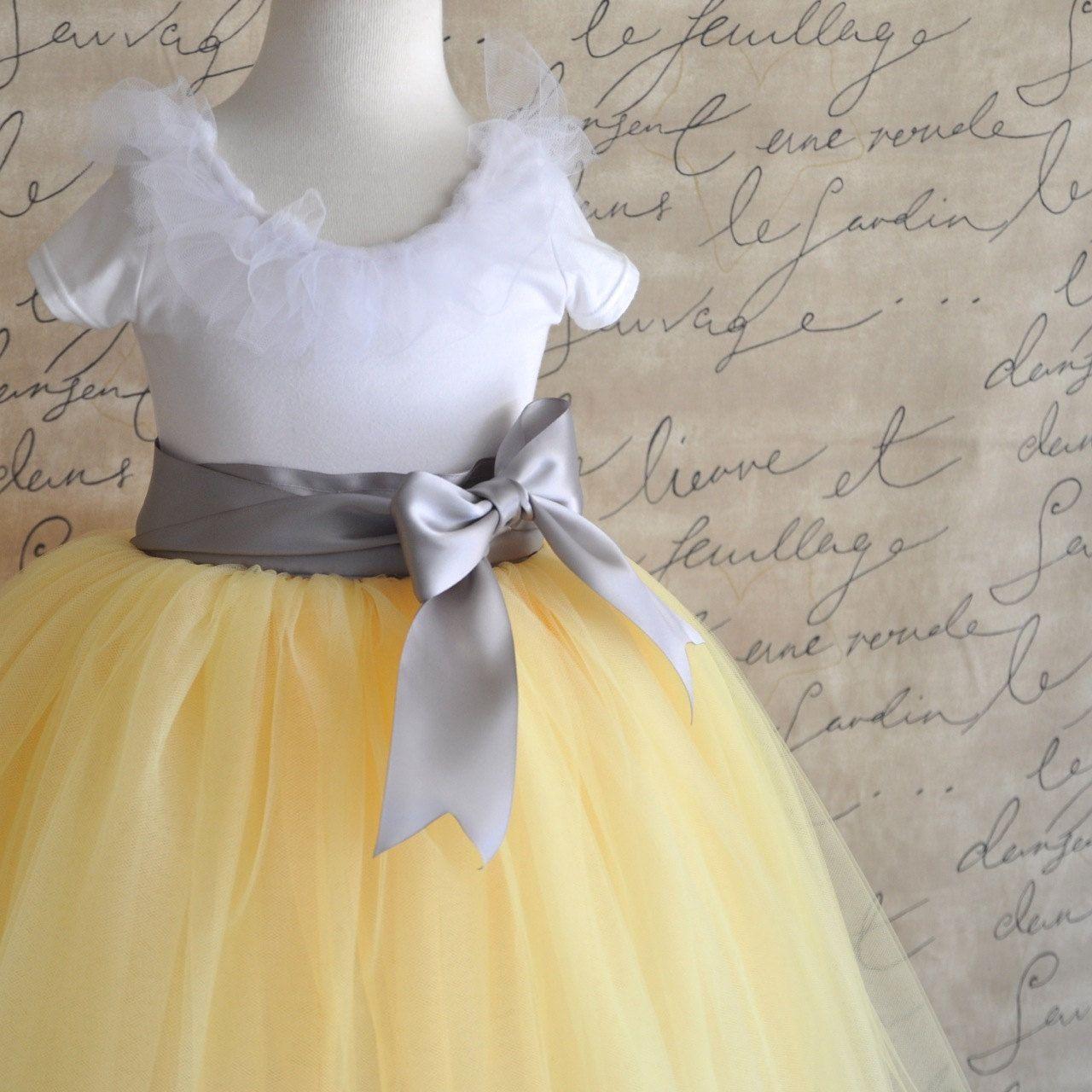 Yellow And Grey Flower Girl Tutu Custom Blend Of Three Shades Of