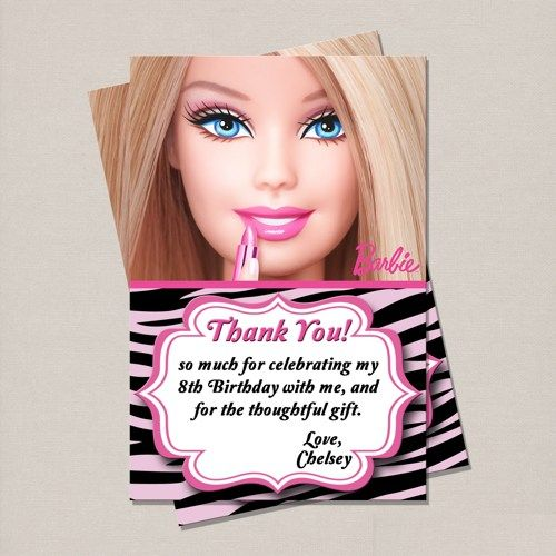 Barbie birthday thank you card perfectfavors digital art on barbie birthday thank you card stopboris Image collections