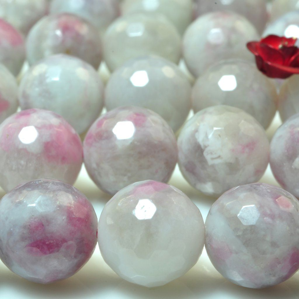 """Approx 64 Beads 15/"""" Strand Smooth Watermelon Red Stone 6mm Rounds"""