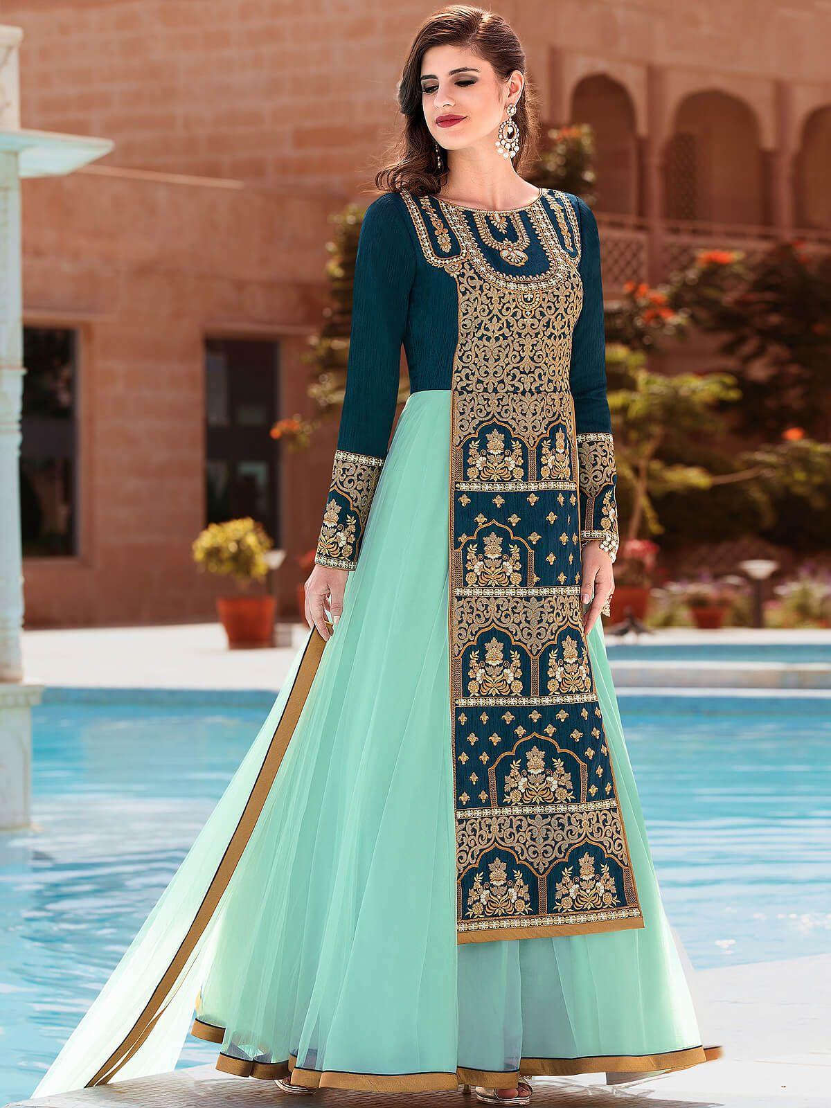 Lovely sky blue silk party wear anarkali suit. Having fabric silk ...