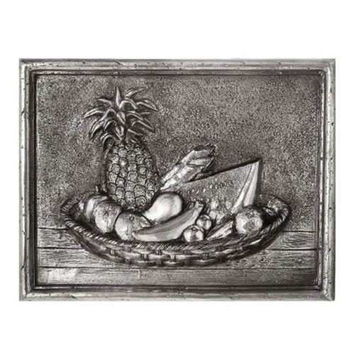 Design Tuscany DT-17-2002P Mediterranean Tropical Fruits Backsplash & Mural Tile, Pewter, As Shown