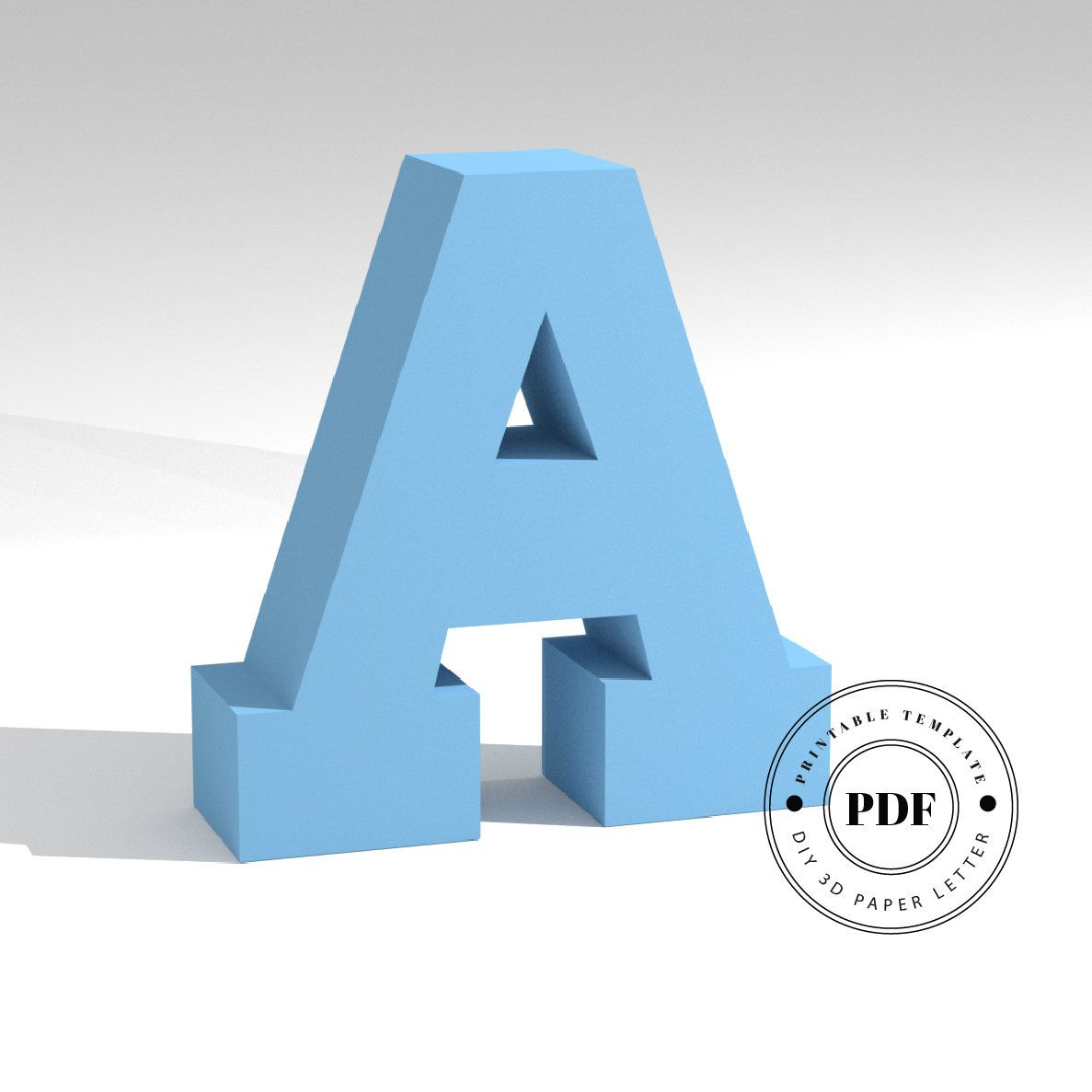 Printable Diy Template Pdf Letter A Low Poly Paper Model Template 3d Paper Lettering Origami Papercraft Cardboa Paper Models Diy Printables Letter Paper