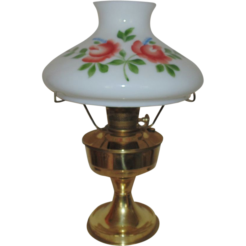 23 aladdin brass lamp oil kerosene w hand painted roses glass shade vintage 23 aladdin brass oil kerosene lamp w hand painted roses glass shade aloadofball Images