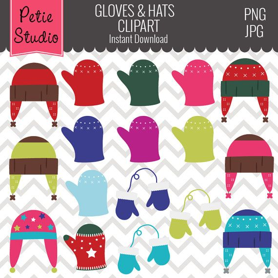 eb5754bc8a0 Winter Hats and Gloves Mittens Clipart Winter by PetieStudio ...