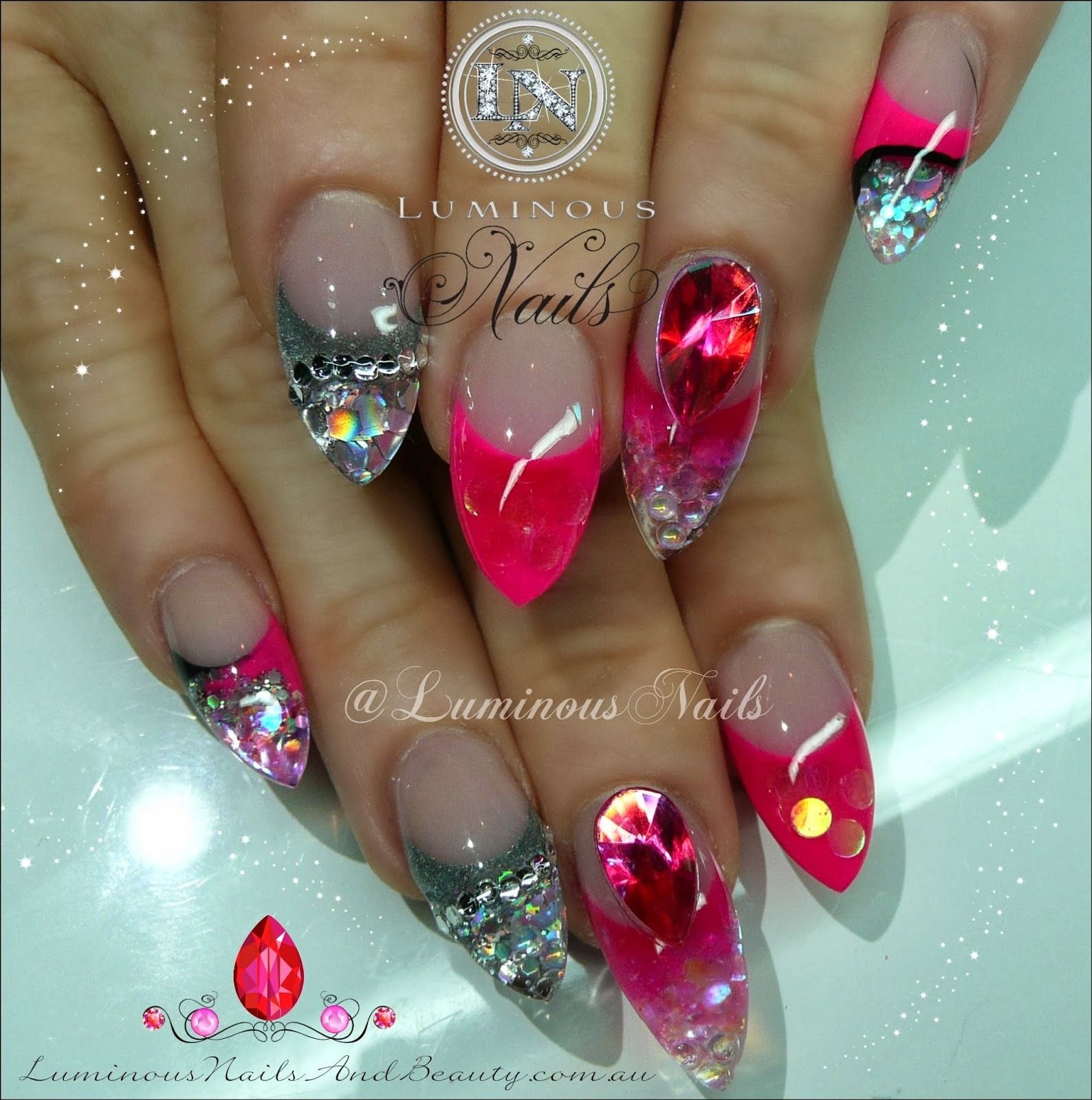 Hot Pink, Silver & Black Nails...   nail design   Pinterest ...
