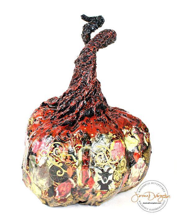 El Diablo! One Of A Kind Paper Mache Pumpkin By Sculpture