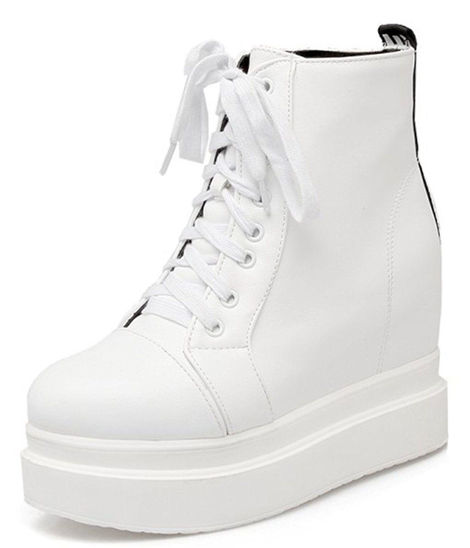 c8a313b89f1 IDIFU Women's Casual High Heels Heighten Platform Lace Up Sneakers ...