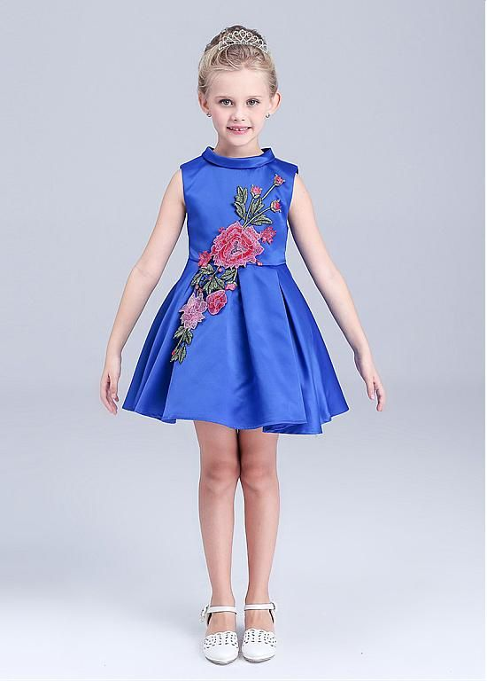 485a2d13f0 In Stock Lovely Satin High Collar A-Line Girls  Formal Dresses ...