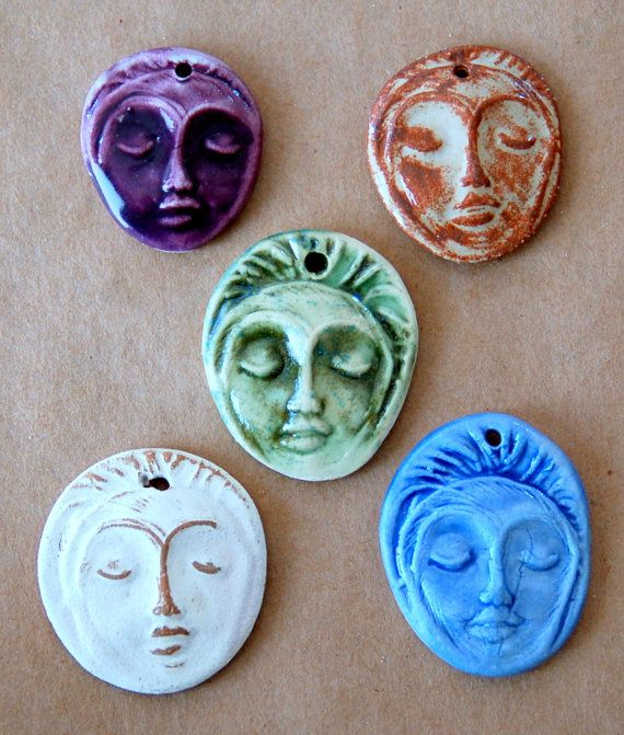 5 Handmade Ceramic Pendants Face Beads Meditation