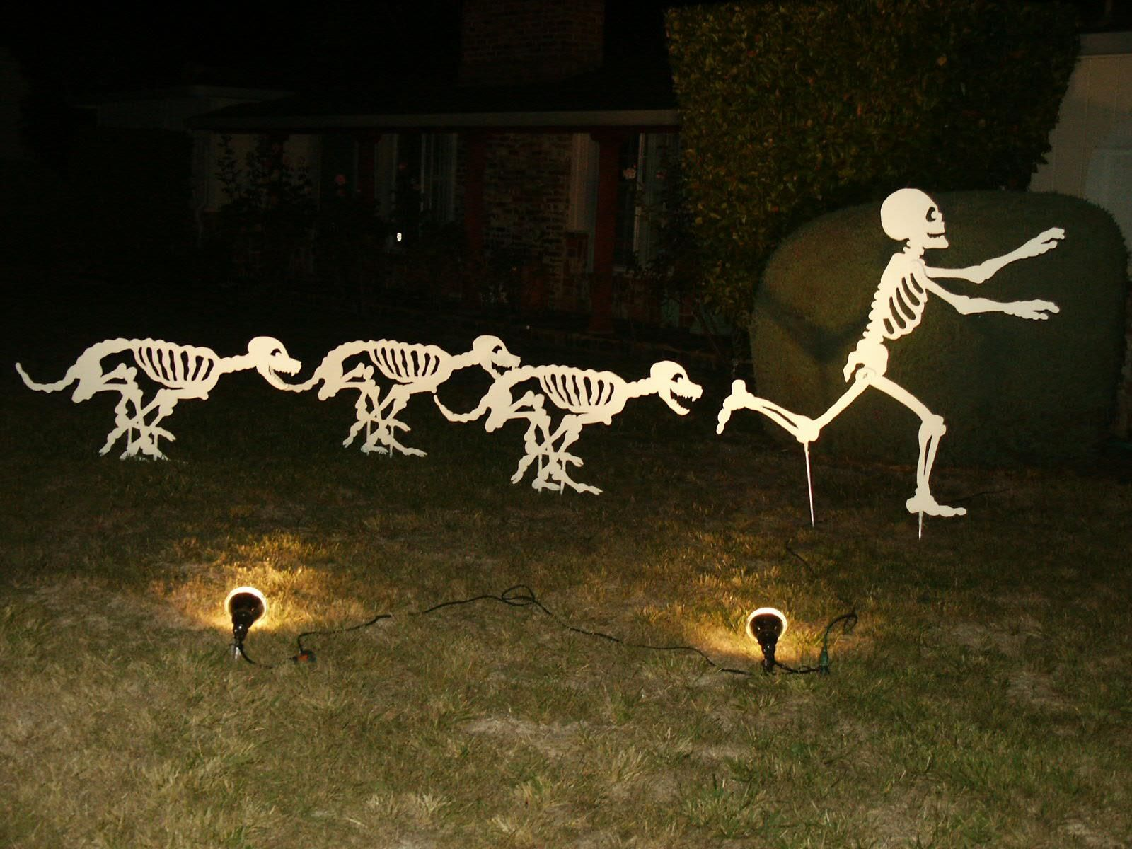 Skeleton Dogs Chasing A Skeleton Love It Outdoor Halloween