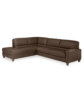 "Renata Leather Sectional Sofa 2 Piece Sleeper 111""W x 91""D x 34""H"