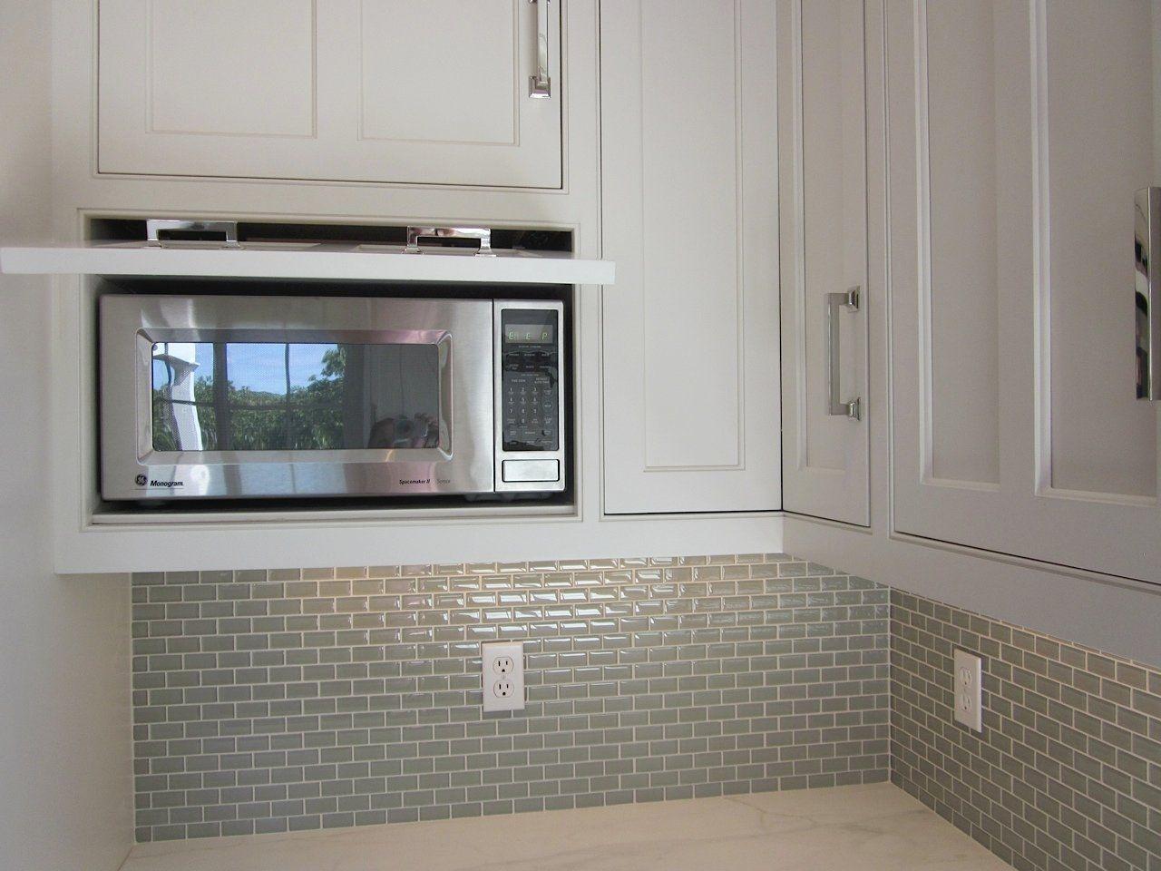 Microwave Hidden Behind Drop Down Door Kitchens