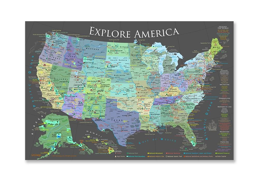 Usa National Parks Map Poster Slate Edition National Parks Map
