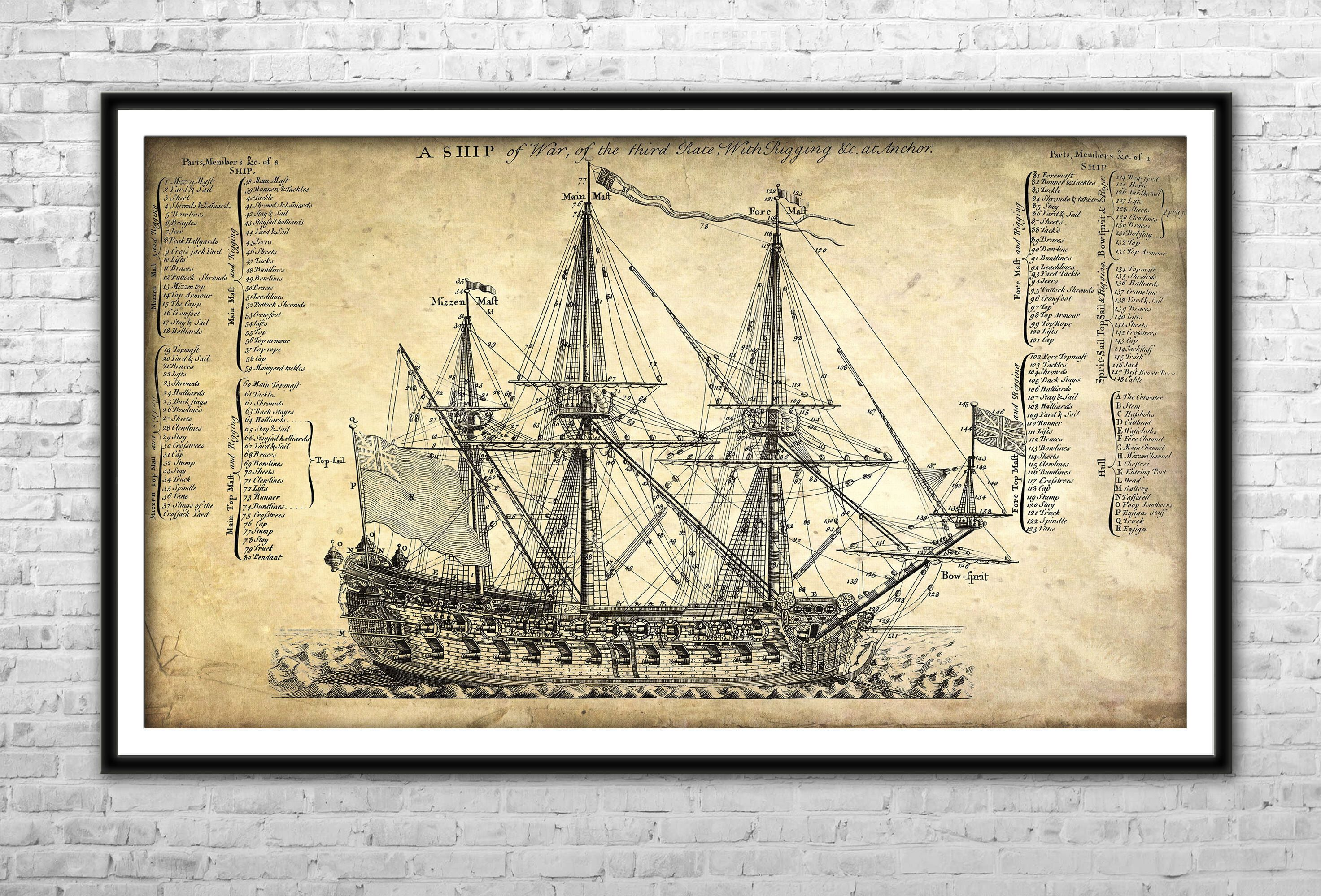 Old ship blueprint archival paper print and canvas print warship old ship blueprint archival paper print and canvas print warship poster british ship wall art home decoration multi panel pirate ship print malvernweather Image collections