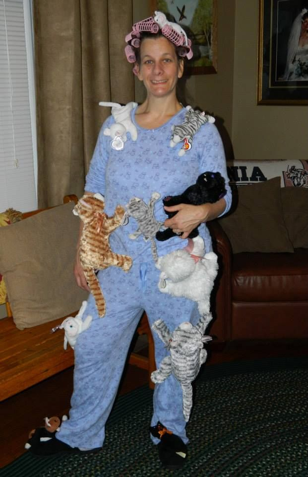 f596929edc0b Crazy Cat Lady  One of our Halloween Costume Contest Entree s! Search your  local Goodwill for cat pajamas and cat stuffed animals.