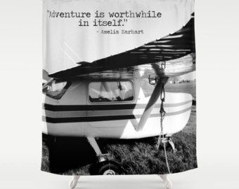 Check Out Airplane Shower Plane Shower Curtain Black White Bathroom Amelia Earhart Quote Love Of Flying Pilot Gift Plane Enthusiast Cool Stuff Pillo