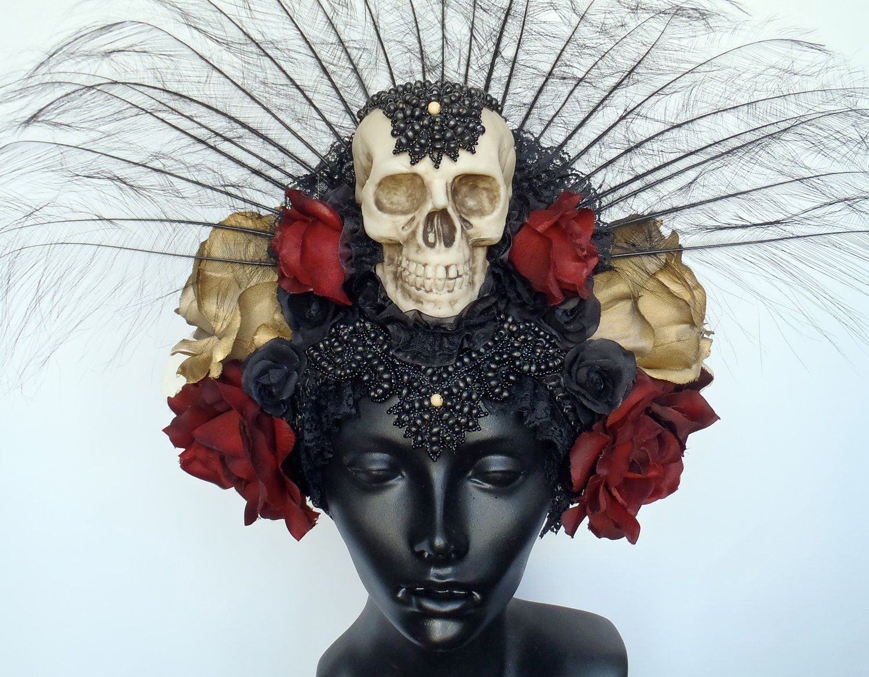 CUSTOM ORDER Day of the Dead Skull & Flower Headdress. $325.00, via Etsy.