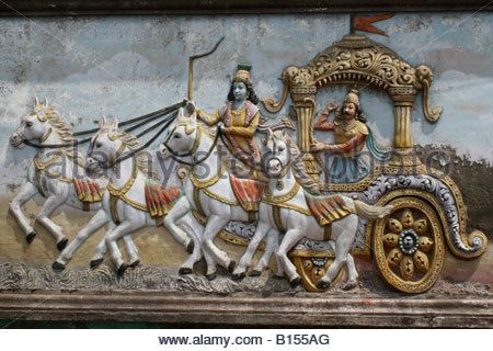 Mural on hindu temple wall showing arjuna and krishna in for 3d mural art in india