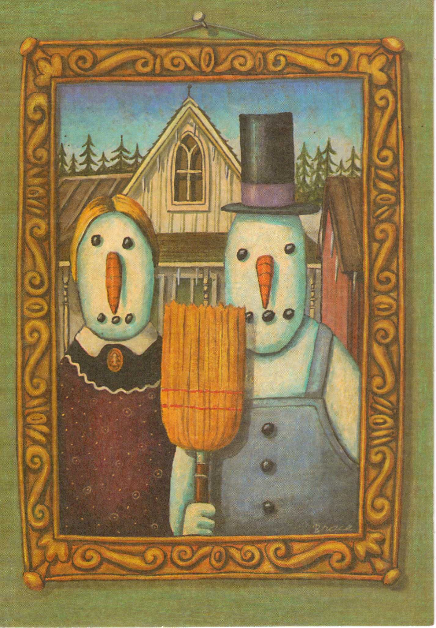 American Gothic Snowpeople Winter Art Project Ideas