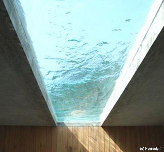 Wonderful Pool Finish Ideas For You To Copy: Submerged Skylight Windows. Installed On Pool Floors