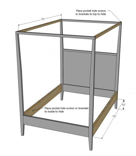 Simple - Build a Hannah Canopy Bed - Full Size  sc 1 st  Pinterest & Simple - Build a Hannah Canopy Bed - Full Size | Kids Bedroom ...