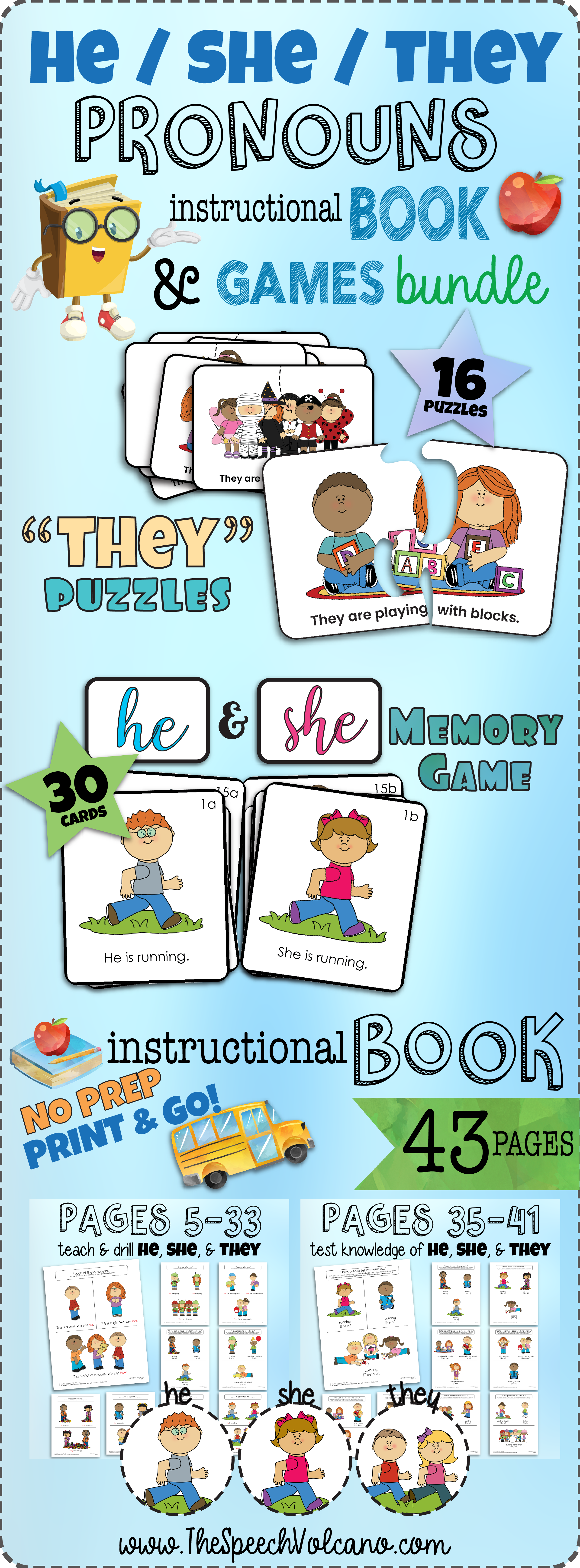 Bundle He She They Pronouns Book Games