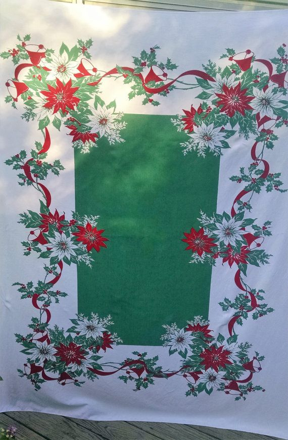 Festive Vintage Christmas Tablecloth Table Cloth Red Green