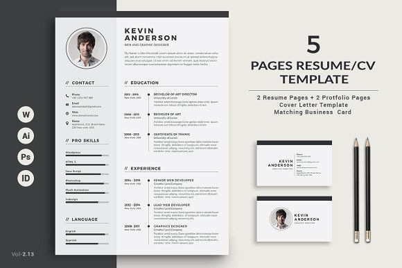 Resume/CV - 5 Pages by ThemeDevisers on @creativemarket - resume 5 pages