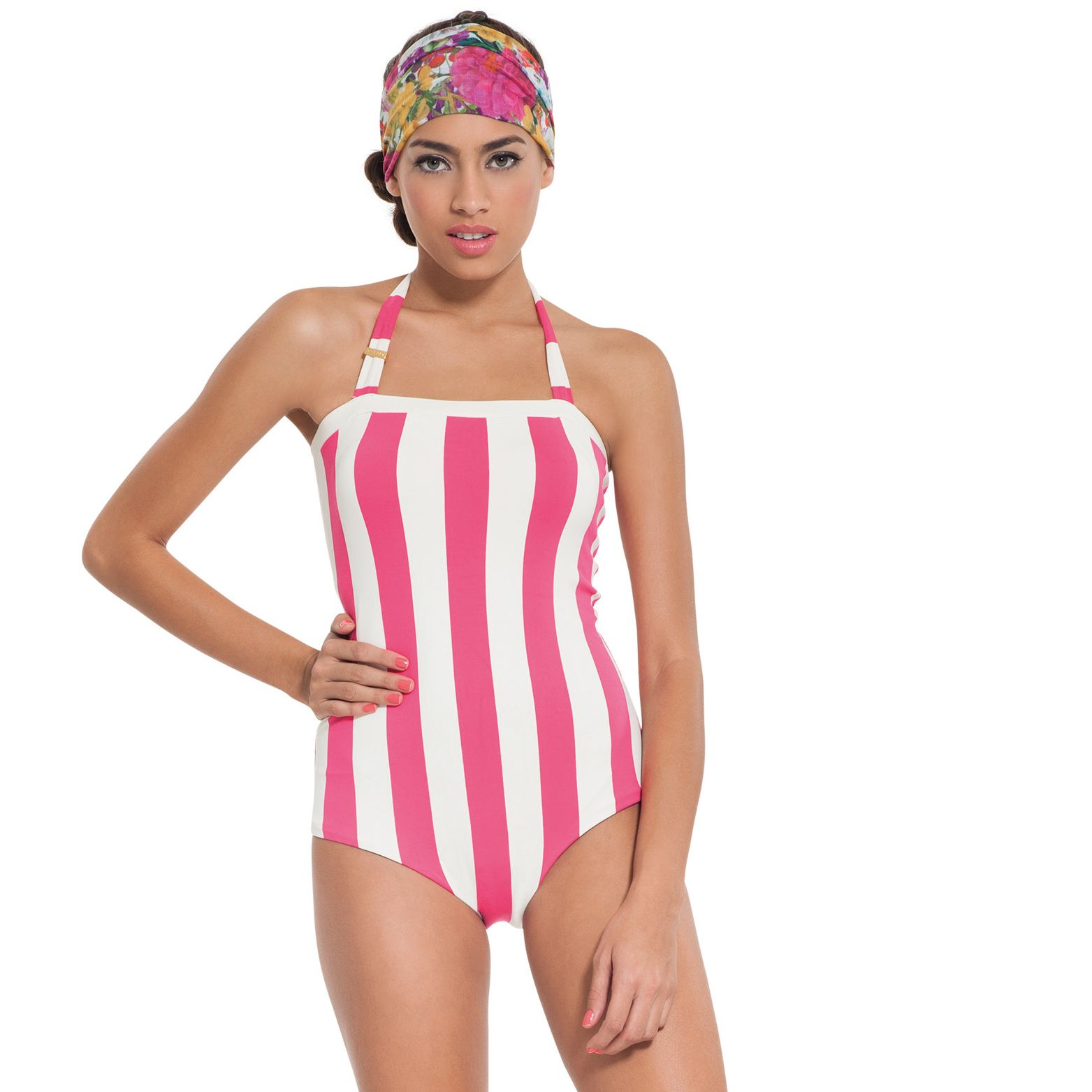 Maxi Striped Neon Sorbet.   3025/bou/23: Retro one piece with moulded cups and tummy control.