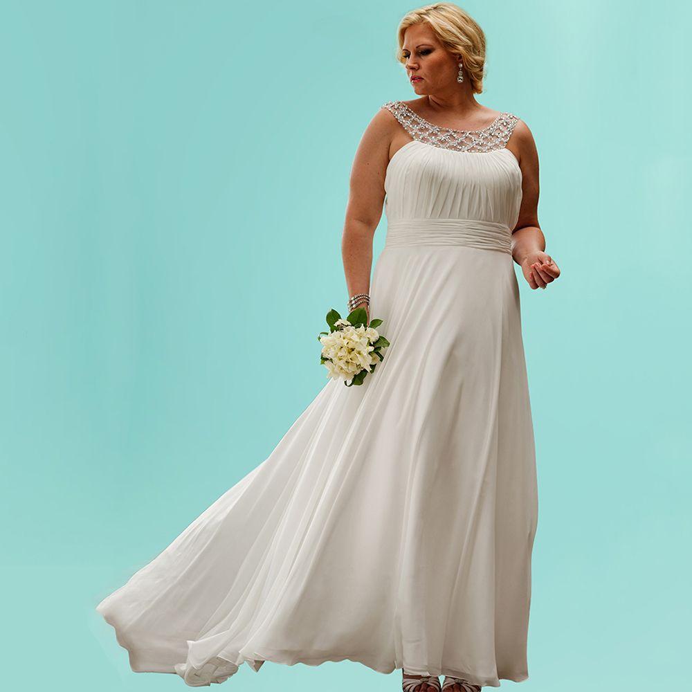 Click to Buy << New Chiffon Plus Size Wedding Dresses Beading Neck ...