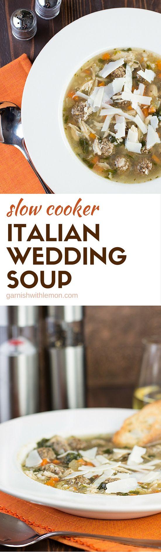 Slow Cooker Italian Wedding Soup Garnish with Lemon
