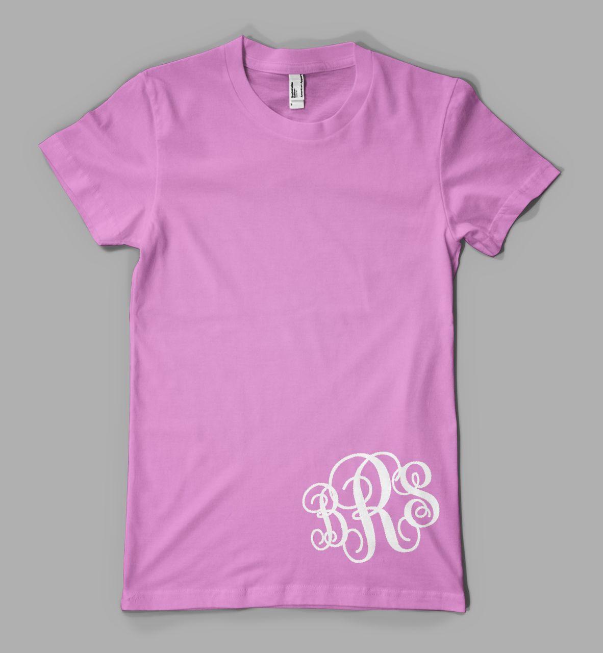Design your own t-shirt decals - Custom Monogram T Shirt Ladies Monogrammed Initials Personalized T Shirt Bottom Print